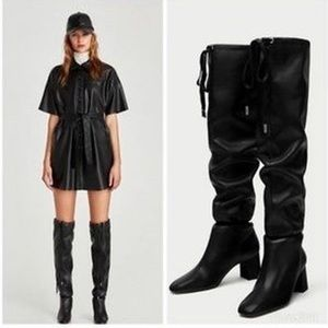 Zara Leather Over the Knee Boots in Black